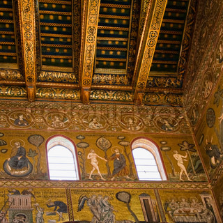 ancient gold mosaic in interior of Cefalu cathedral
