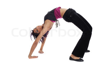 Picture of a girl doing gymnastics on white background