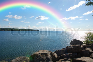 One water landscape with rainbow