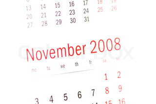 Close up of November 2008 from calendar