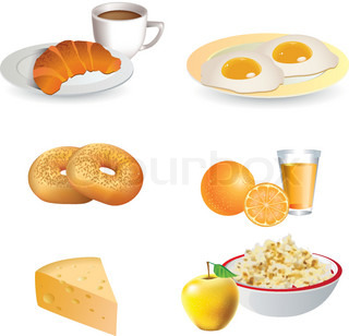 Breakfast icon set - cheese, coffee, croissant, eggs, bagels,  fruit