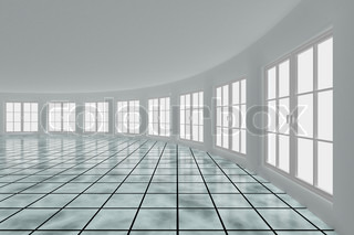 Empty hall with windows. Interior. 3D image