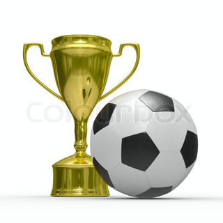 Gold cup winner with soccer ball. Isolated 3D  image
