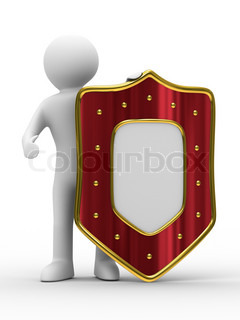 man and shield on white background. isolated 3D image