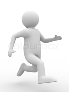 running person on white background. Isolated 3D image