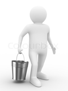 Man with bucket on white background. Isolated 3D image