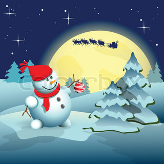illustration, new year's snowman in hat on blue background