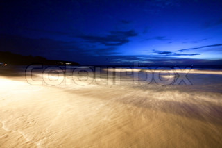 Night on the white sand tropical beach. Phuket. Thailand