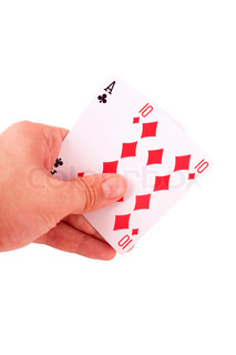 hand holding two playing cards isolated on white background