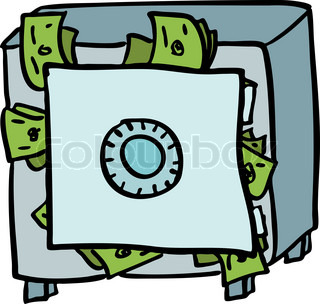 Doodle Safe Full Of Money Vector Colourbox
