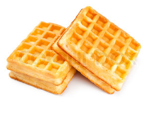 soft waffles isolated on white background
