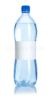 Soda water bottle with blank label isolated on white background