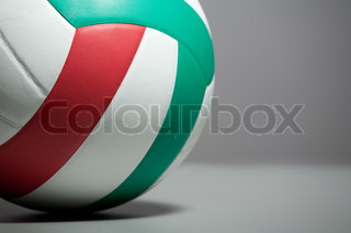 Volleyball ball on a gray background. Close up.
