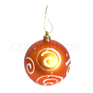 Orange Christmas bauble isolated on white background.