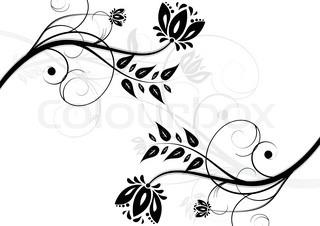 Schwarze und weiße Blumen Hintergrund