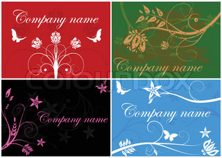 Set of four bright floral business cards
