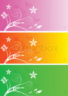 Set of three colourful bright floral banners