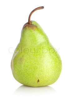Green pear isolated on a white background
