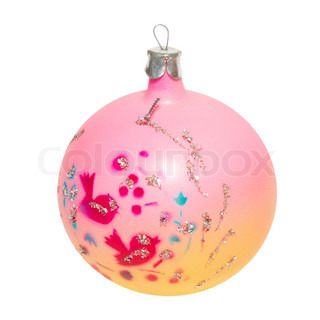 Pink Christmas bauble isolated on white background.