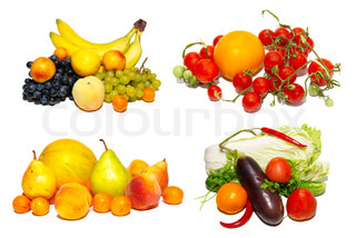 Multi fruits and vegetables isolated on white.