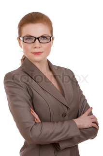 Portrait of a young successful business woman wearing glasses
