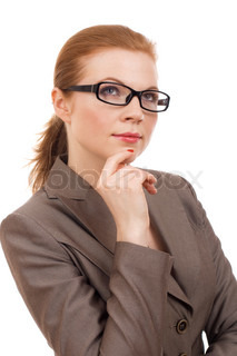 Portrait of a young business woman thinking about something