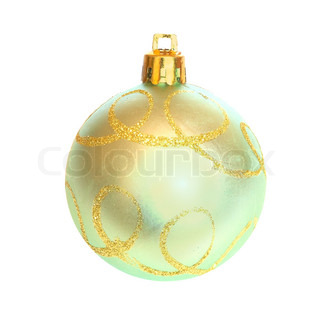 Yellow Christmas bauble isolated on white background.