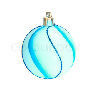 Blue christmas bauble isolated on white background.