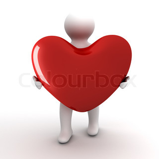 Heart in a gift. Isolated 3D image.