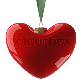 Heart hanging on a ribbon. 3D image.