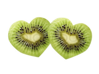 kiwi fruit in the form of heart, isolated on a white background