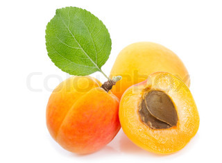 apricots with leaf on white background