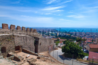 City view from Trigonion tower of upper town, Thessaloniki, Macedonia, Greece