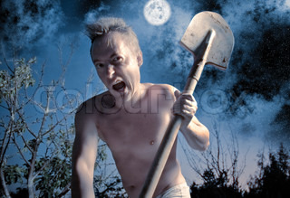 anger crazy man with spade
