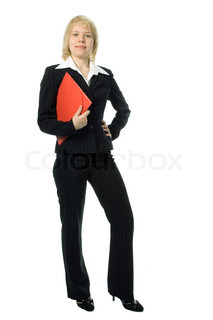 full-length portrait business woman with red folder over white background
