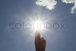 Fingers pointing toward the sun, sunny warm summer day, bright, idea, cloudskype