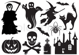 Big Halloween Sammlung mit Fledermaus , Kürbis, Hexe, Gespenst , Element für Design , Vektor-Illustration