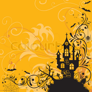 Halloween background with bat and castle, element for design, vector illustration