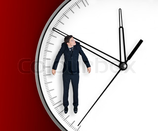 Businessman hangs on an arrow of clock, isolated on red background