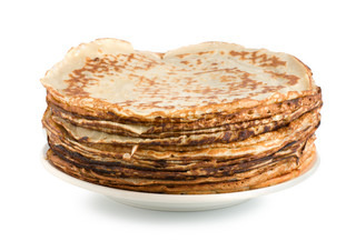 Pancakes on a plate isolated on white background