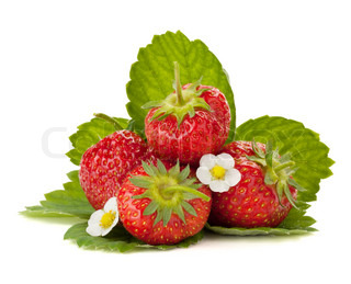 Strawberry fruits with flowers and green leaves Isolated on white background
