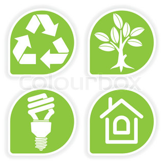Collect sticker with environment icon, tree, leaf, light bulb and Recycling Symbol, vector illustration