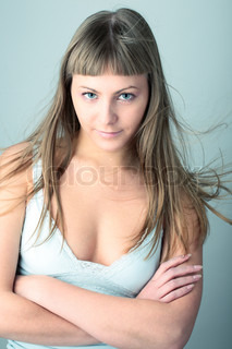 Beauty Sexy Woman on gray background