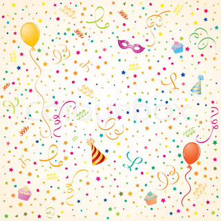 Party Time Thema mit Ballon , Streamer , Kuchen und Hut , Element für Design , Vektor-Illustration