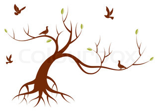 Stylized Tree with leafs and bird, for design, vector illustration