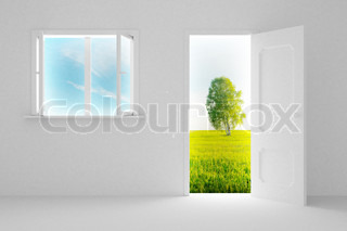 landschaft hinter der offenen t r und fenster stock foto colourbox. Black Bedroom Furniture Sets. Home Design Ideas