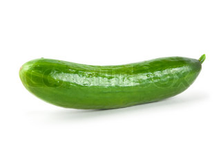 A fresh, uncut cucumber on white background