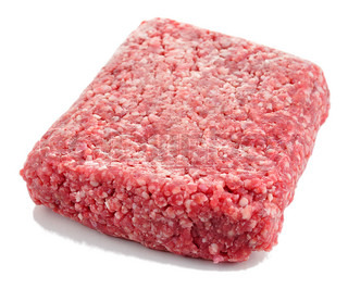 ground meat on white background