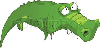 Cartoon Character Crocodile Isolated on White Background