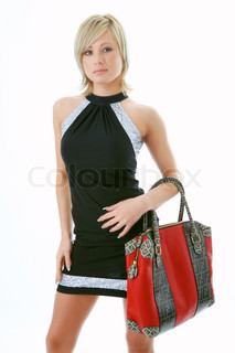 beauty woman portrait with red bag on white background